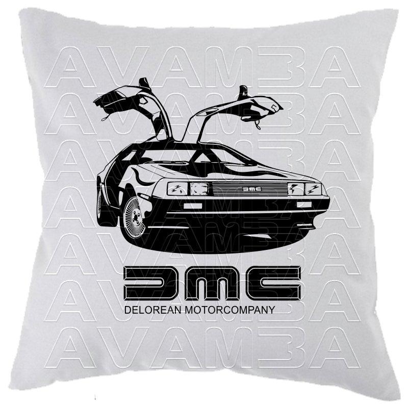 delorean dmc 12 aus zur ck in die zukunft car art kissen car. Black Bedroom Furniture Sets. Home Design Ideas