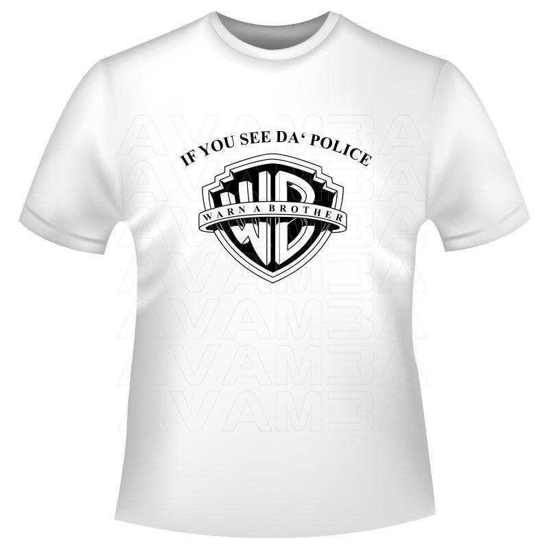 Lustig funny t shirt warn a brother vor der polizei avam for Comic t shirts online