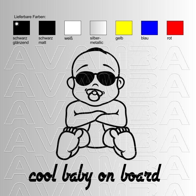 Autoaufkleber / Autosticker - cool baby on board