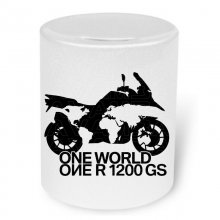 BMW R 1200 GS ONE WORLD Moneybox / Spardose mit Aufdruck