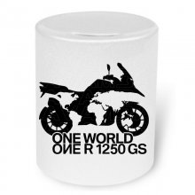 BMW R 1250 GS ONE WORLD Moneybox / Spardose mit Aufdruck