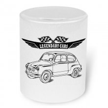Fiat 600 Version 2 Moneybox / Spardose mit Aufdruck