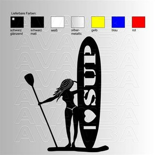 SUP Woman Stand up paddling Aufkleber / Sticker