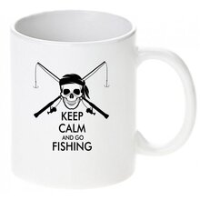 Keep calm and go fishing / Keramikbecher m. Aufdruck