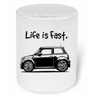 BMW Mini Life is fast Moneybox / Spardose mit Aufdruck